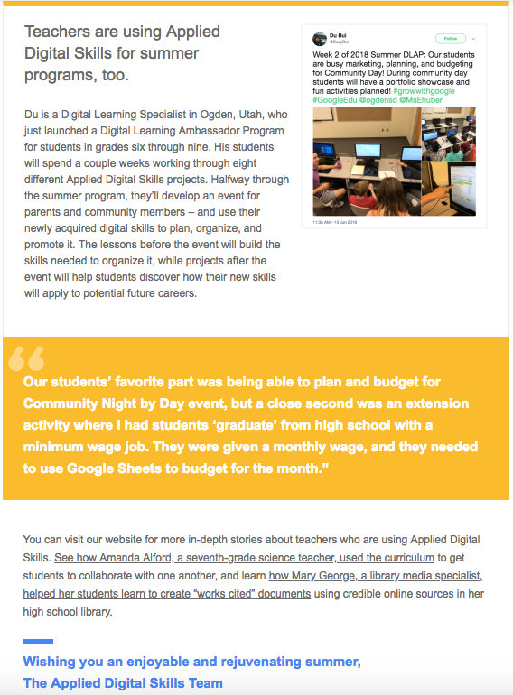 Google's Newsletter features OSD's Summer Applied Digital Skill Program